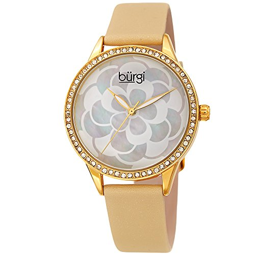 Burgi Women's Watch - Swarovski Crystal Accented Bezel, Beautiful Flower Pattern on Mother of Pearl Dial - Black Satin Leather Skinny Strap BUR203YG
