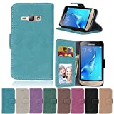 J1 2016 Flip Case, Galaxy J1 2016 case, Samsung Galaxy J1 2016 Case Cover,YiLin PU Leather Flip Folio Wallet Case Cover for Samsung Galaxy J1 2016 - BLUE