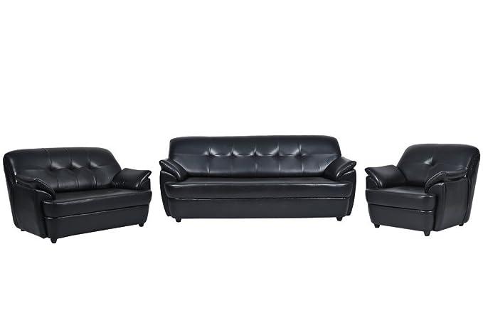 FabHomeDecor Boston Six Seater Sofa Set 3-2-1 ( Black)