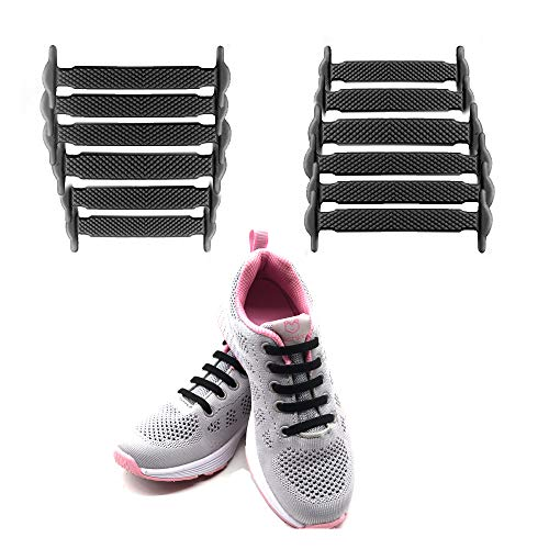 LattoGe Silicone Elastic No Tie Shoelaces Kids Shoelaces Tieless Shoe Laces Lace Lock Bands for Kids, Adults Athletic Running Shoe Laces,Seakers (Kids Size Black) ()