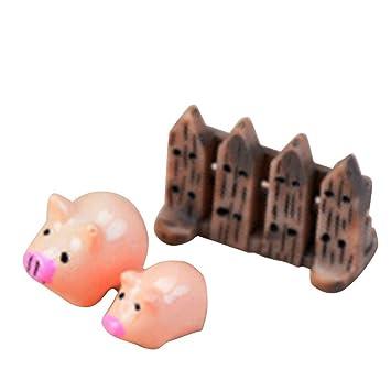 Compra Uokoki 3pcs / Set Miniatura Elefante Gato Artificial Mini Erizo Perro Cerdo Burro Animal de la Historieta Figurita Micro Paisaje decoración de la ...
