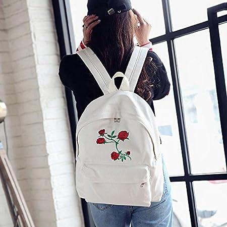 Oyfel Sac a Dos en Noir Blanc Flamant Rose Toile Imprime Loisir Cordon Ethnique Indien Fleur Fleuri Hippie pour Enfant Garcon Fille Homme Femme College Scolaire Sport Moto Ecole 1 Pcs