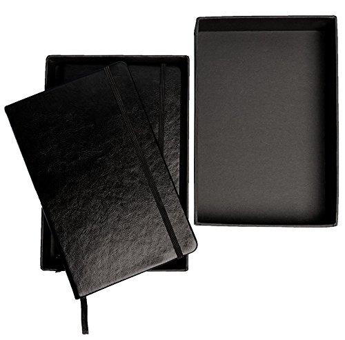 CLASSIC 2 pack leather notebooks/journals - elegant black A5 Writing diary, note taking hard cover ruled and dotted journals, Thick paper 120gsm 5''x8.25 by LU shop