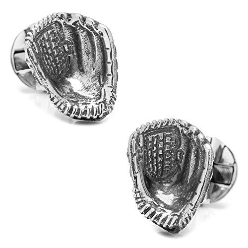 Glove Cufflinks - Sterling Silver Baseball Glove Cufflinks