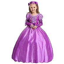 Fansino Girl's Purple Princess Dress up Costume Fancy Party