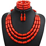 Lanue Fashion Handmade Bead Multilayer Statement Necklace Bracelet Earrings Jewelry Set (Orange)