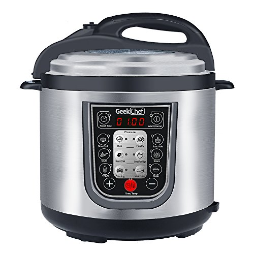 New Generation Stainless Steel (GeekChef New generation 11-in-1 Multi-Functional Electric Pressure Cooker,Stainless Steel Cooking Pot with Sous Vide Function, 6Qt/1000W)