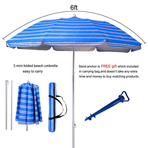 AMMSUN 2017 6ft two folded patio beach umbrella for sun and outdoor with sand anchor,with hanging hook,with metal tilt Portable Cabana Silver Coating Inside with 99% UV Protection Stripe (Blue) by AMMSUN