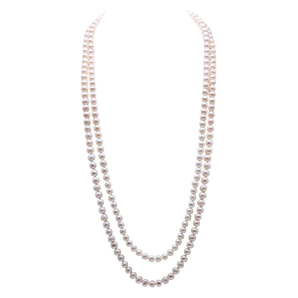 JYX Pearl Double Strand Necklace Classic 8-9mm White Freshwater Pearl Long Strand Necklace Opera Length 32'' by JYX Pearl