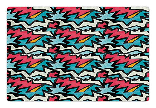 - Ambesonne Urban Graffiti Pet Mat for Food and Water, Chevron-Like Bold Framed Tangled Stripes and Edgy Zigzags, Rectangle Non-Slip Rubber Mat for Dogs and Cats, Dark Coral Blue Eggshell
