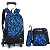 Rolling Backpack Set Trolley Travel suitcase Wheeled School Bag+Shoulder bag+Pouch 3 in 1 unisex Blue-Six Wheels