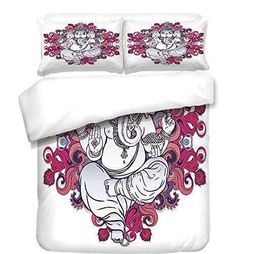 iPrint Duvet Cover Set,Elephant,Elephant Figure over Floral Colorful Mandala Pattern Eastern Faith Symbol Print Decorative,Pink Grey,Best Bedding Gifts for Family Or Friends by iPrint