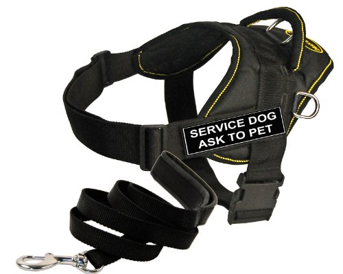 Dean and Tyler Bundle - One ''DT Fun Works'' Harness, Service Dog Ask To Pet, Yellow Trim, XL + One ''Padded Puppy'' Leash, 6 FT Stainless Snap - Black by Dean & Tyler