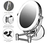 "Ovente Wall Mount Mirror, 1×/10× Magnification, Premium Acrylic Frame, Diffused LED Ring Light, 9.5"", Battery- or USB Adapter-Operated (MLW45CH1X10X)"