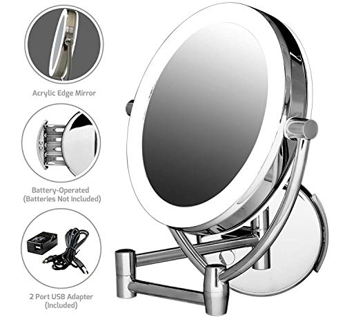 Ovente Wall Mount Mirror, 1×/10× Magnification, Premium Acrylic Frame, Diffused LED Ring Light, 9.5