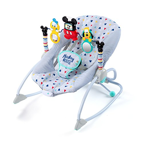 Bright Starts Disney Baby Mickey Mouse Take-Along Songs Infant to Toddler Rocker with Soothing Vibrations