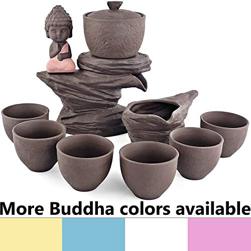 (25DOL Yixing Zisha Clay Large Tea set 9 pieces - Traditional Buddha Statue integrated on Mountain sculpture + 1 Teapot with its Lid (6.08Oz) + 1 Pot (6.76Oz) + 6 cups (2.53Oz each) - Gift box)