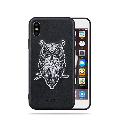 BETA iPhone Case Owl Design,Embroidery Case,Black,Soft Leather Case Cover,For Woman man Girls, Steady and Fashion,Heavy Protective iPhone Anti Gravity (Black,iPhone - Embroidery Stuff Designs