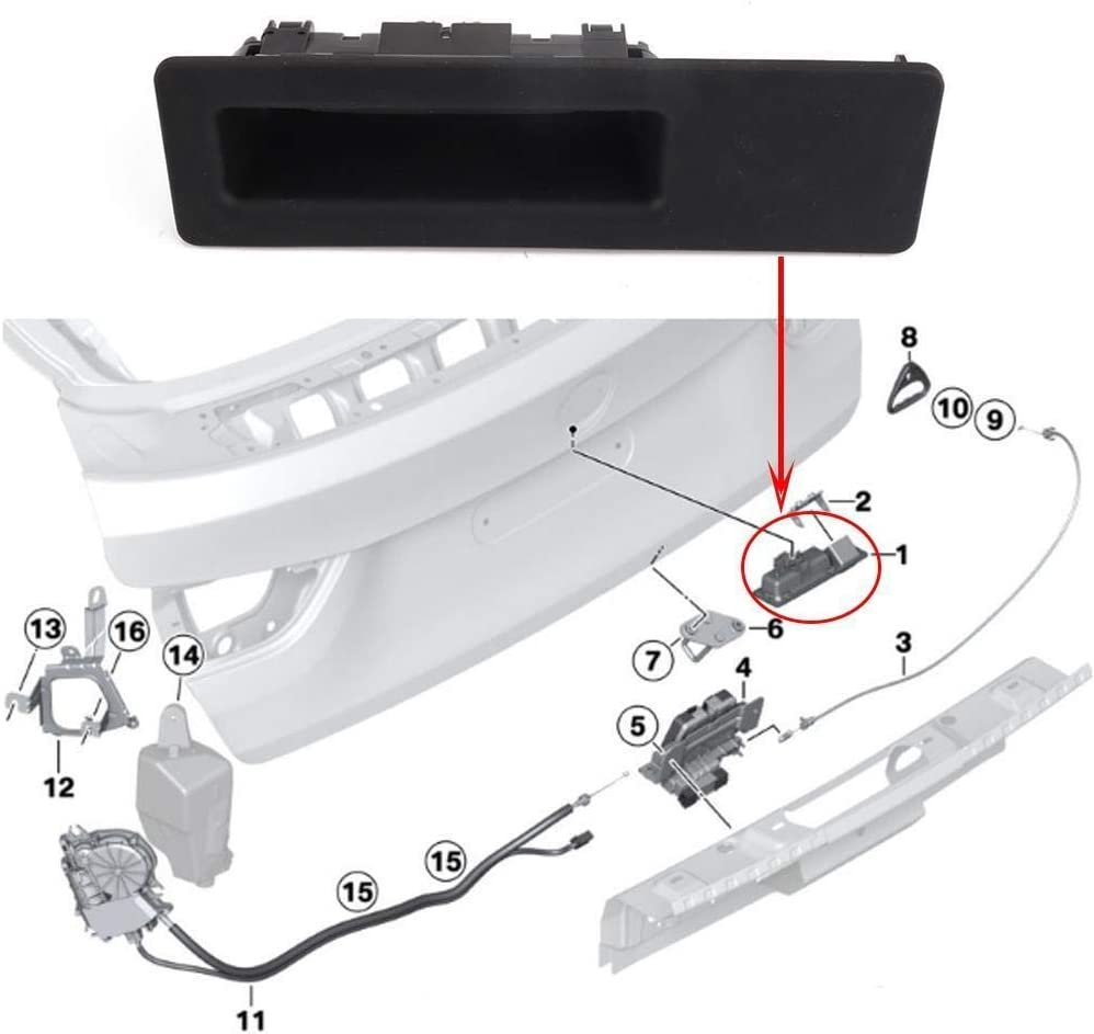 NO LOGO KF-TAILGATE Tailgate Trunk Boot Release Switch Tailgate Push Button For BMW F10 F11 5 Series 2010-2015 OE:51247368752+Kit Tail-gate Handle Color : Black