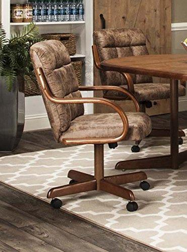 (Caster Chair Company Bernard Swivel Tilt Caster Arm Chair in Rawhide Microsuede)