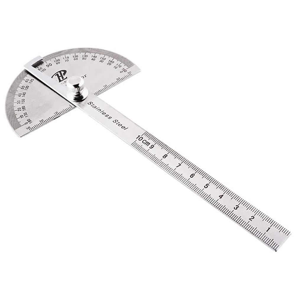 Ouken 1pc Winkelmesser aus rostfreiem Stahl mit 0-180-Grad-Winkel Runde Kopf Finder Herrscher 100mm Arm Messen Herrscher