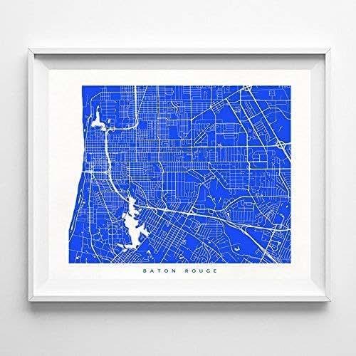Amazon.com: Baton Rouge Louisiana Street Road Map Poster