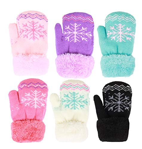 Infant-Toddler 2-3 Years Soft And Warm Fuzzy Interior Lined Mittens 6-Pack (12-24 Months, Snowflakes)