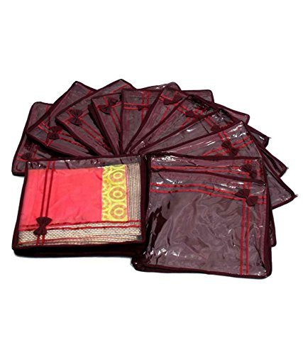 Kuber Industries™ Saree Cover 12 Pcs Combo In Non Wooven Material (Maroon)