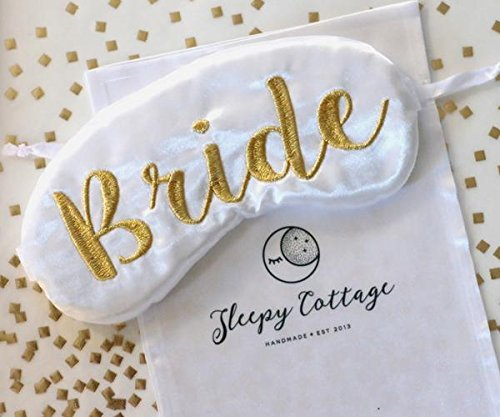 Modern Bride Sleep Mask Bridal Shower Gift White and Gold Eye Mask