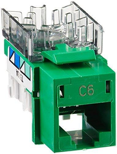 Hubbell HXJ6GN25 XCELERATOR Series RJ Jack, CAT6, 8 Position, Universal 586A/B Wiring, Green (Pack of 25)