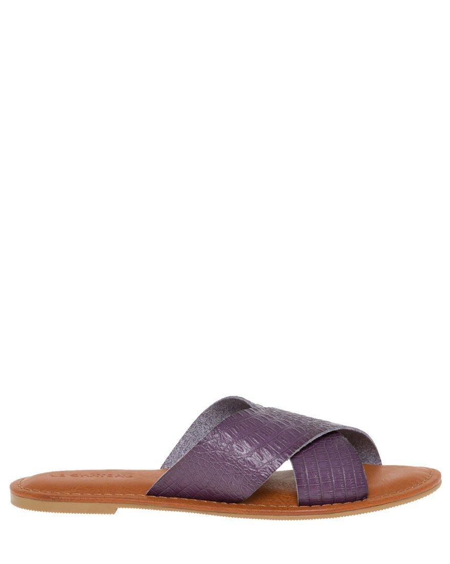 LE CHÂTEAU Women's Croco Criss-Cross Slide Sandal,8,Blue