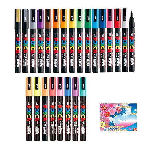 - Uni Posca Paint Marker FULL RANGE Bundle Set , Mitsubishi Poster Colour ALL COLOR Marking Pen Fine Point ( PC-3M ) 24 Colours ( 17 Standard & 7 Natural ) Japan Import