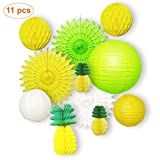 11 pcs Summer Party Honeycomb Pineapple Ball For Tropical Hawaiian Luau Party Festival Paper Lantern Paper Fan Decoration