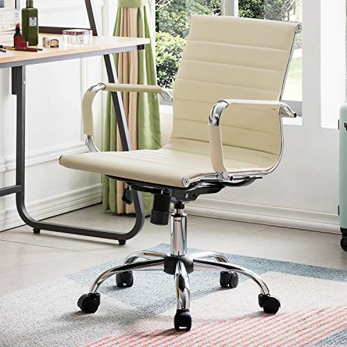 OVIOS Ergonomic Office Chair,Leather Computer Chair for Home Office or Conference.Mid Back Swivel Desk Chair with Arms (1, Ivory White)