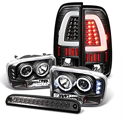 For 1999-2004 Ford F250/F350 Black Halo Projector Headlights + Light-Bar Tail Lights + LED 3rd Brake Lamp 2000 2001 2002