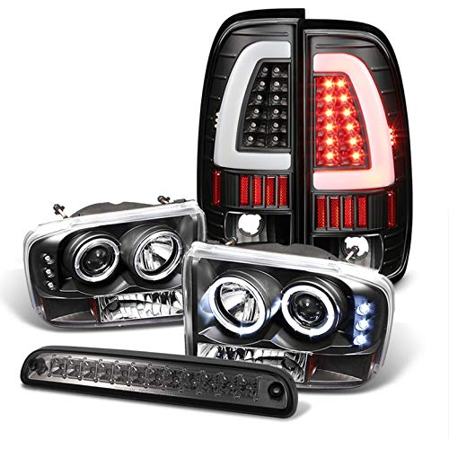 For 1999-2004 Ford F250/F350 Black Halo Projector Headlights + Light-Bar Tail Lights + LED 3rd Brake Lamp 2000 2001 ()
