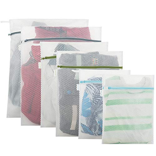 Honeycomb Knit Sweater - EXPAWLORER 6 Pack Mesh Laundry Bags for Laundry, Hosiery, Sock, Underwear - Washing Bags Travel Storage Bags with Durable Zipper, Protect Clothes