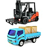 Click N' Play CNP0300 Friction Powered, Pullback Forklift and Truck Play Set