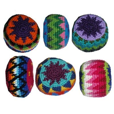 12 Pack Assorted Geo Hacky Sack / Footbag - Hand Crocheted Made in Guatemala Hacky Sack / Footbag - Comes with Tips & Game Instructions - G93