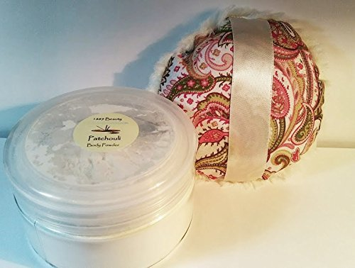 CLEARANCE Patchouli Silk Powder Gift Set - 8 oz Jar Silk Powder and Paisley Powder Puff - Large Size by De'esse Boutique