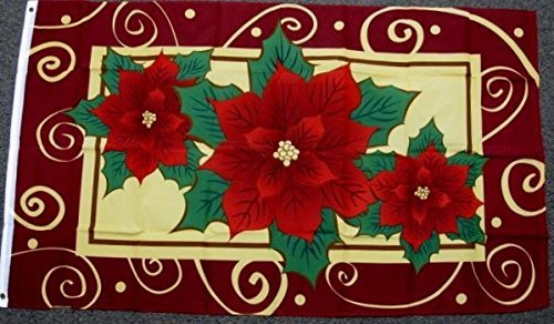 Happy Holidays Poinsettia (3x5 Poinsettia Flag Christmas Banner Happy Holiday Season Welcome Xmas New F293)