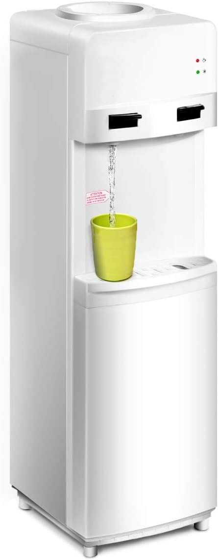 COSTWAY Water Cooler Dispenser 5 Gallon Top Loading Freestanding Water Dispenser with Hot and Cold Water, Perfect for Home and Office White