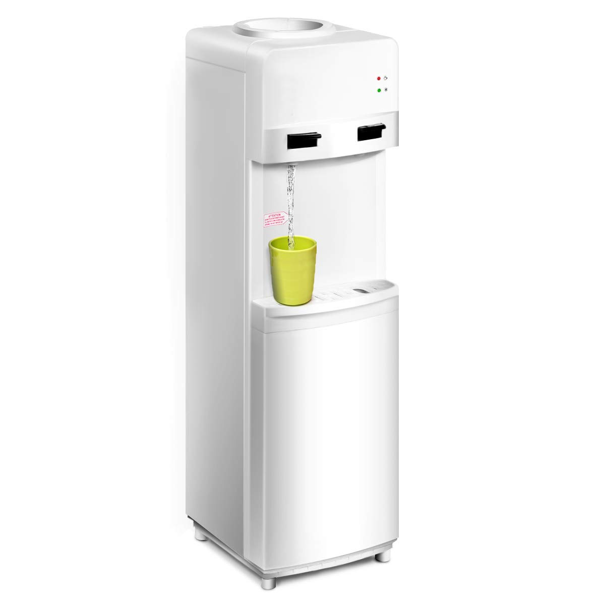COSTWAY Water Cooler Dispenser 5 Gallon Top Loading Freestanding Water Dispenser with Hot and Cold Water, Perfect for Home and Office (White) by COSTWAY