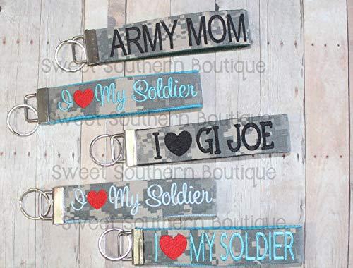 (Custom military keyfob key fob chain keychain army navy marine coast guard air force wife mom)