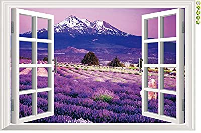 Winhappyhome Purple Lavender Sea Natural Scene 3D Fake Window Wall Sticker Removable Home Decor Living Room Bedroom Office Decorating Decals