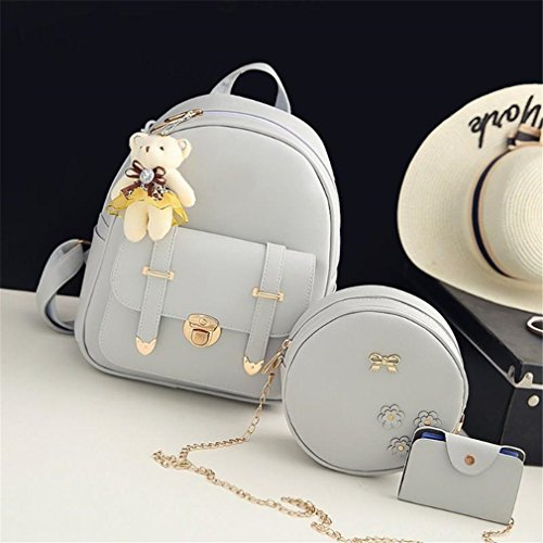Pu School Bag Women Backpack 01 Leather 01 3Pcs qxw1OE4WfB