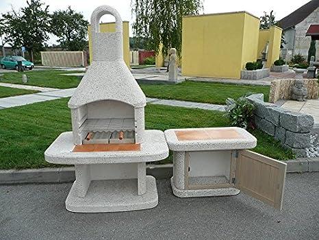 WellFire Jardín Parrilla chimenea Siesta blanco Incluye - Mesa auxiliar, con puerta: Amazon.es: Jardín