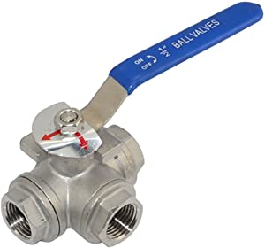 "Megairon 1/2"" NPT Female L-Type Ball Valve with Heavy Duty Blue Vinyl Insulation Handle, 3-Way, 316 Stainless Steel,WOG1000"