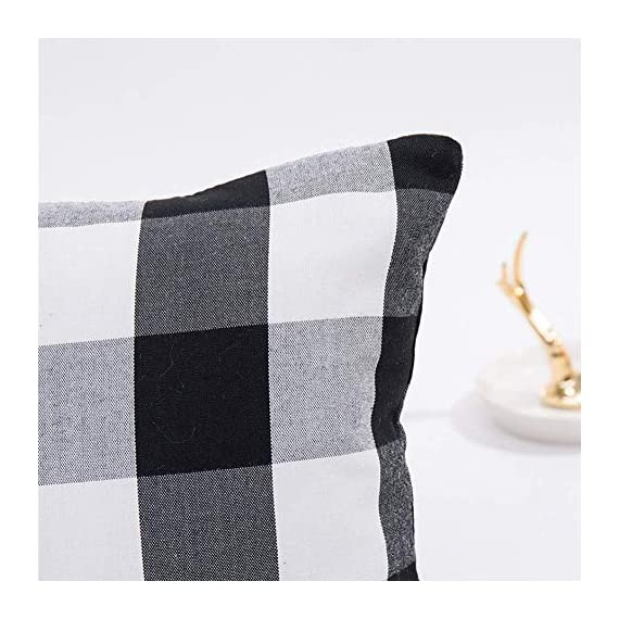 HOPLEE Outdoor Pillow Covers 20x20 Black and White Pillow Covers Buffalo Plaid Stripe and Gingham Design Set of 4 - 1.Black Throw Pillow Covers Size: 20x20 inch / 50x50cm(1-2cm deviation).This set comes with 4 pieces pillow covers,NO PILLOW INSERTS INCLUDED. 2.This set decorative pillow covers with 4 pieces black and white geometric pillow covers, the same on two sides. 3.20 x 20 pillow covers are matched with the invisible zipper. Disassemble freely, convenient to change. Help you decor your home more gorgeous with these farmhouse pillow covers. - patio, outdoor-throw-pillows, outdoor-decor - 513 mnoIoSL. SS570  -