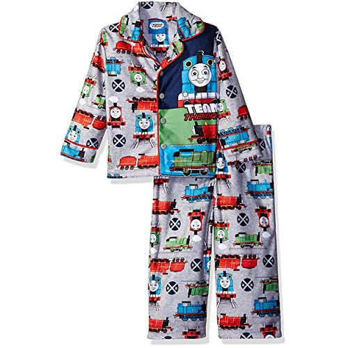 Thomas Train and Friends Little Boys Flannel Coat Style Pajamas (4T, Team Grey) (Coat Style Pajamas)